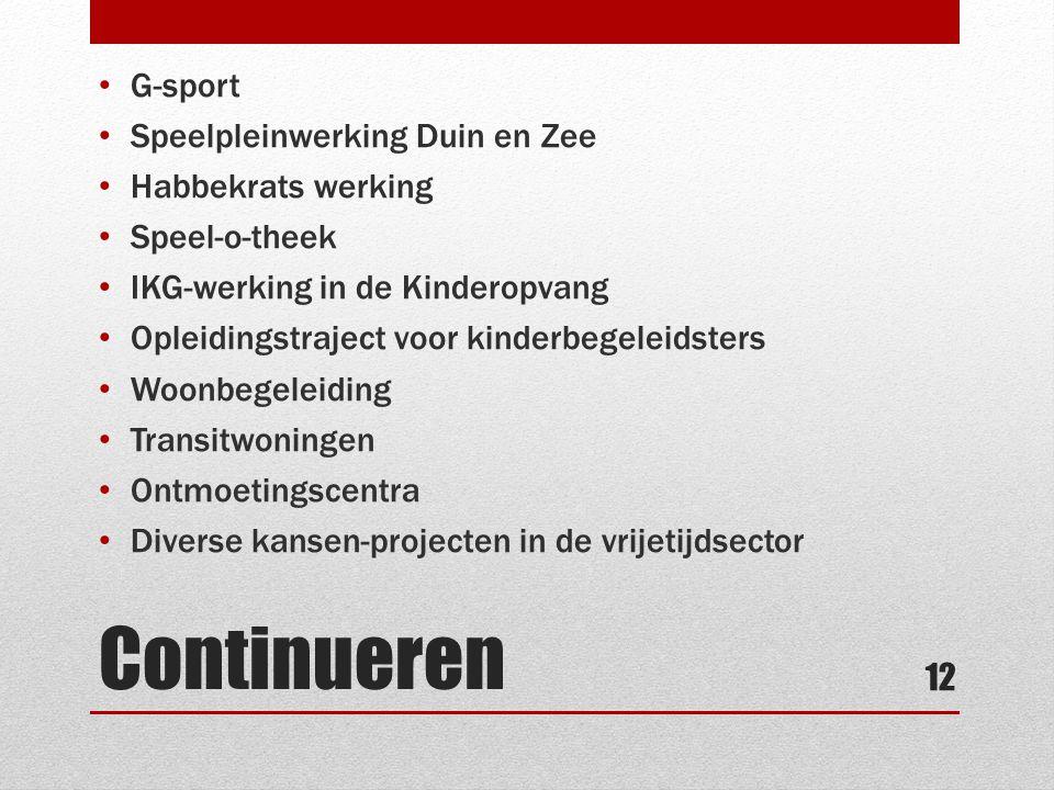 Continueren • G-sport • Speelpleinwerking Duin en Zee • Habbekrats werking • Speel-o-theek • IKG-werking in de Kinderopvang • Opleidingstraject voor k