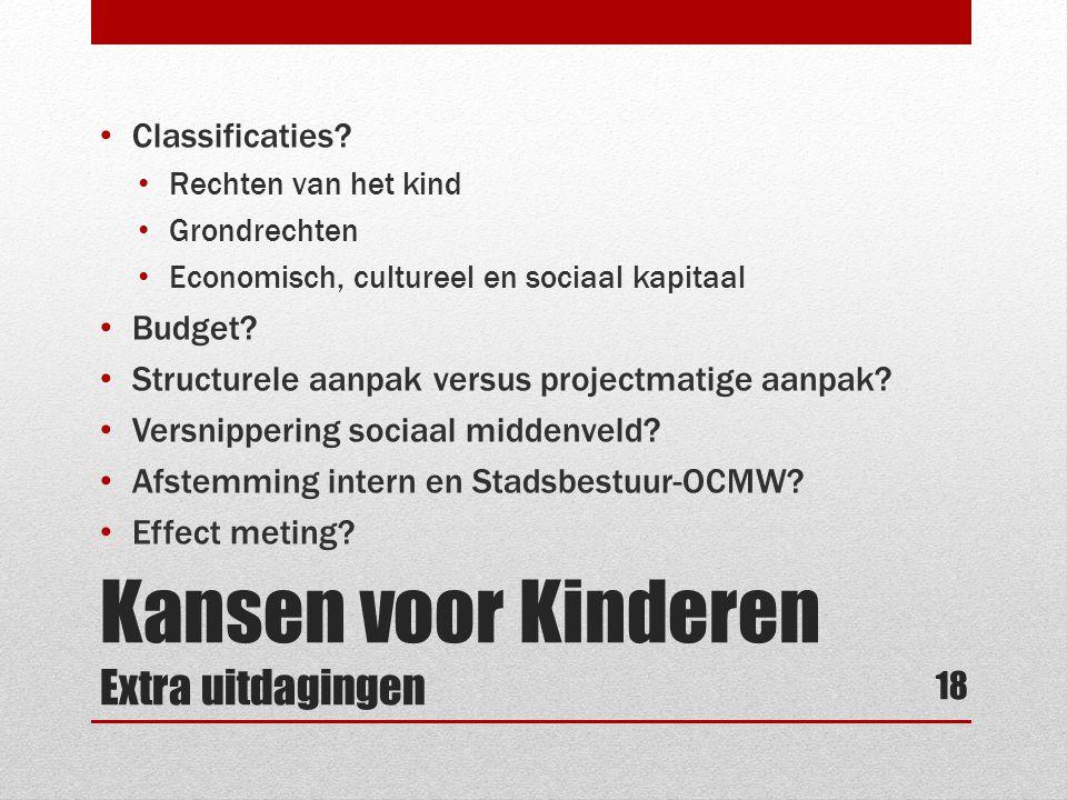 Kansen voor Kinderen Extra uitdagingen • Classificaties? • Rechten van het kind • Grondrechten • Economisch, cultureel en sociaal kapitaal • Budget? •