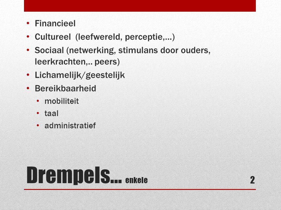 Drempels… enkele • Financieel • Cultureel (leefwereld, perceptie,…) • Sociaal (netwerking, stimulans door ouders, leerkrachten,.. peers) • Lichamelijk