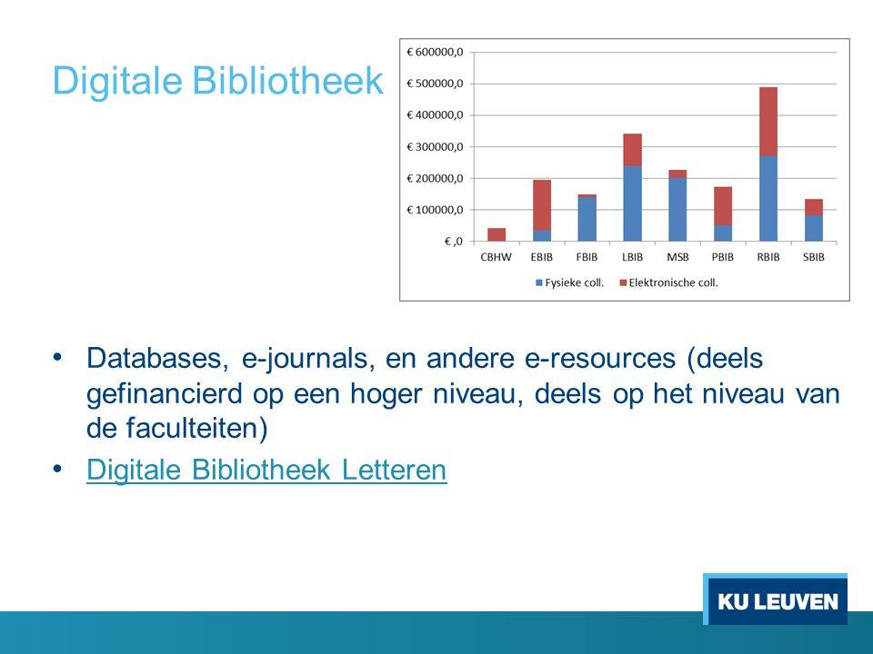 Digitale Bibliotheek • Databases, e-journals, en andere e-resources (deels gefinancierd op een hoger niveau, deels op het niveau van de faculteiten) •