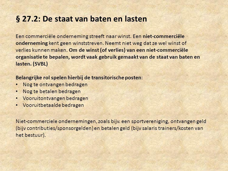 § 27.2: De staat van baten en lasten Een commerciële onderneming streeft naar winst. Een niet-commerciële onderneming kent geen winststreven. Neemt ni