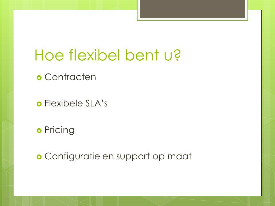 Hoe flexibel bent u  Contracten  Flexibele SLA's  Pricing  Configuratie en support op maat