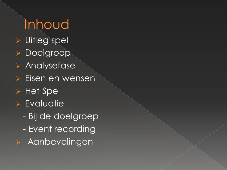  Uitleg spel  Doelgroep  Analysefase  Eisen en wensen  Het Spel  Evaluatie - Bij de doelgroep - Event recording  Aanbevelingen