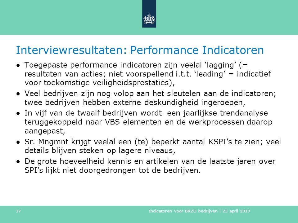 Interviewresultaten: Performance Indicatoren ●Toegepaste performance indicatoren zijn veelal 'lagging' (= resultaten van acties; niet voorspellend i.t