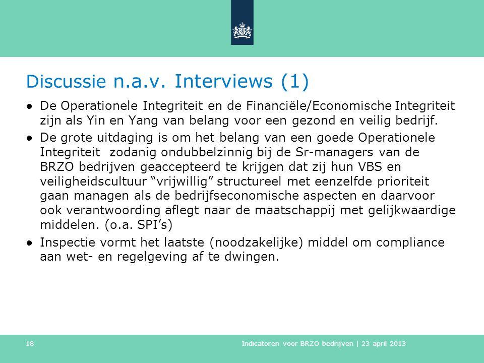 Discussie n.a.v. Interviews (1) ●De Operationele Integriteit en de Financiële/Economische Integriteit zijn als Yin en Yang van belang voor een gezond
