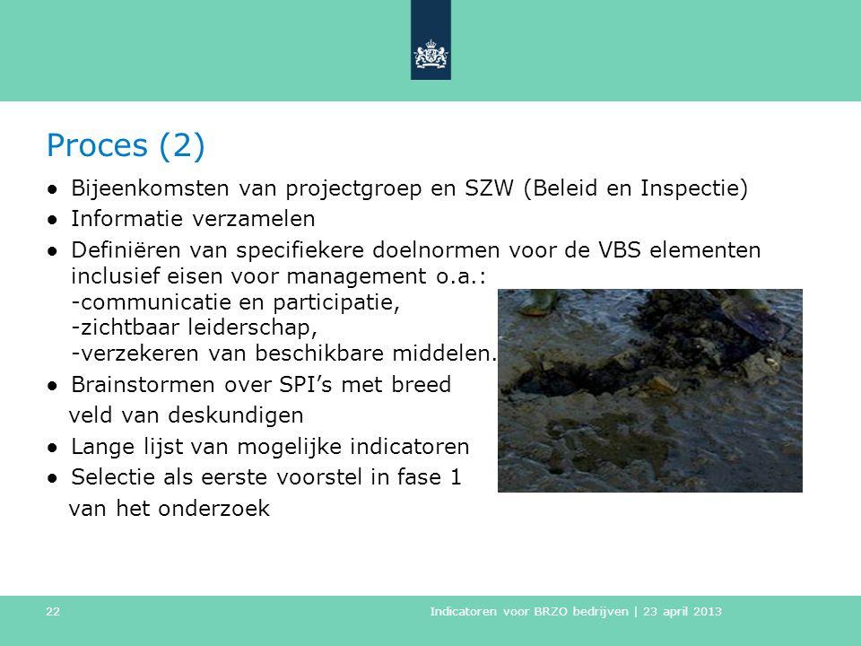 Proces (2) ●Bijeenkomsten van projectgroep en SZW (Beleid en Inspectie) ●Informatie verzamelen ●Definiëren van specifiekere doelnormen voor de VBS ele