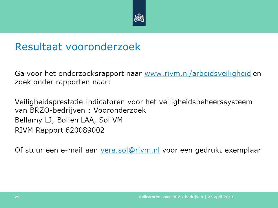 Resultaat vooronderzoek Ga voor het onderzoeksrapport naar www.rivm.nl/arbeidsveiligheid en zoek onder rapporten naar:www.rivm.nl/arbeidsveiligheid Ve