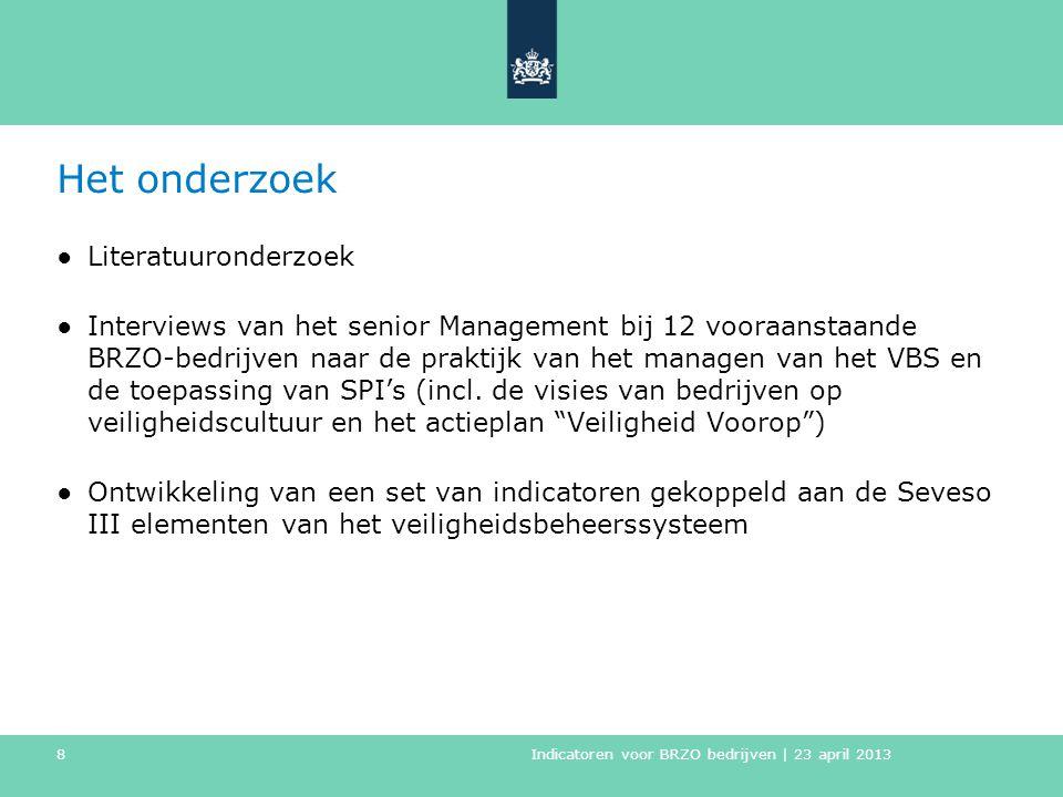 Het onderzoek ●Literatuuronderzoek ●Interviews van het senior Management bij 12 vooraanstaande BRZO-bedrijven naar de praktijk van het managen van het