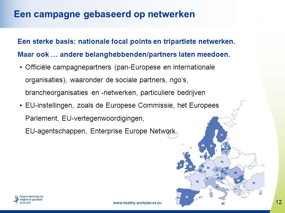 12 www.healthy-workplaces.eu Een campagne gebaseerd op netwerken Een sterke basis: nationale focal points en tripartiete netwerken. Maar ook … andere
