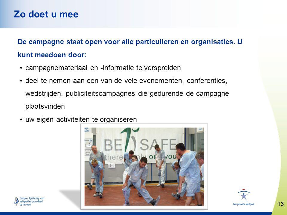 13 www.healthy-workplaces.eu Zo doet u mee De campagne staat open voor alle particulieren en organisaties. U kunt meedoen door: •campagnemateriaal en