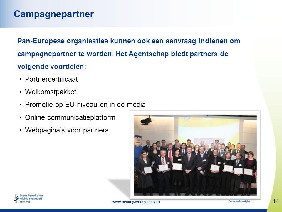 14 www.healthy-workplaces.eu Campagnepartner Pan-Europese organisaties kunnen ook een aanvraag indienen om campagnepartner te worden. Het Agentschap b