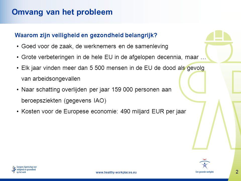 2 www.healthy-workplaces.eu Omvang van het probleem Waarom zijn veiligheid en gezondheid belangrijk? •Goed voor de zaak, de werknemers en de samenlevi
