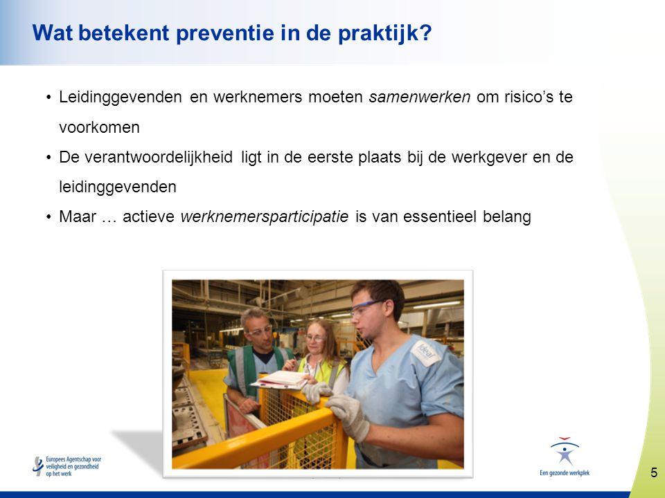 5 www.healthy-workplaces.eu Wat betekent preventie in de praktijk? •Leidinggevenden en werknemers moeten samenwerken om risico's te voorkomen •De vera