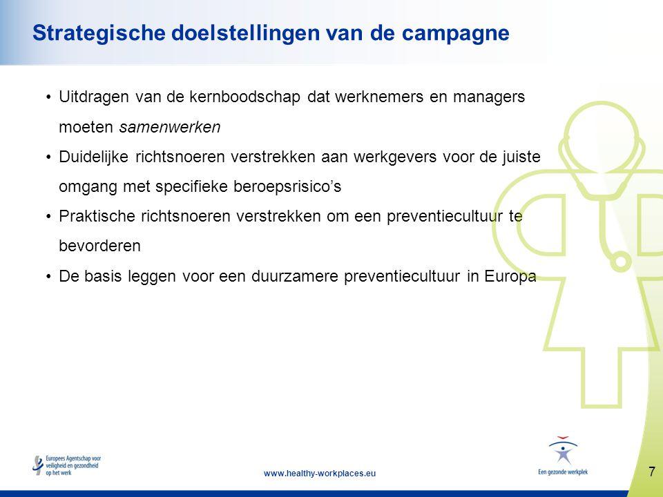 7 www.healthy-workplaces.eu Strategische doelstellingen van de campagne •Uitdragen van de kernboodschap dat werknemers en managers moeten samenwerken