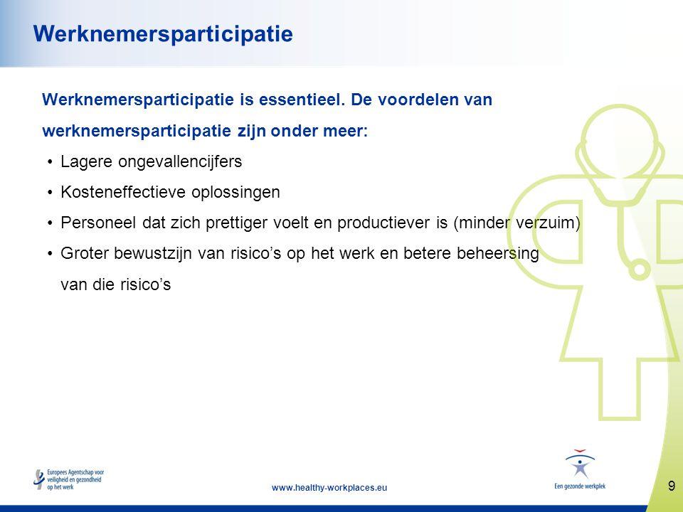 9 www.healthy-workplaces.eu Werknemersparticipatie Werknemersparticipatie is essentieel. De voordelen van werknemersparticipatie zijn onder meer: •Lag