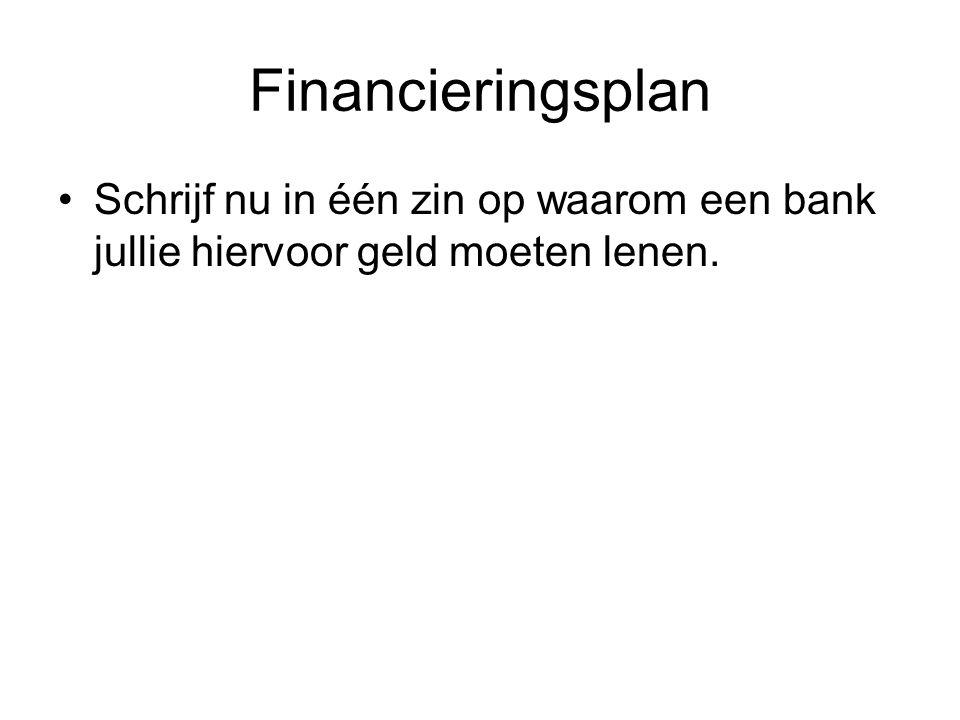 Financieringsplan •Schrijf nu in één zin op waarom een bank jullie hiervoor geld moeten lenen.