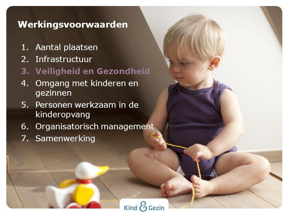 Werkingsvoorwaarden 1.Aantal plaatsen 2.Infrastructuur 3.Veiligheid en Gezondheid 4.Omgang met kinderen en gezinnen 5.Personen werkzaam in de kinderop