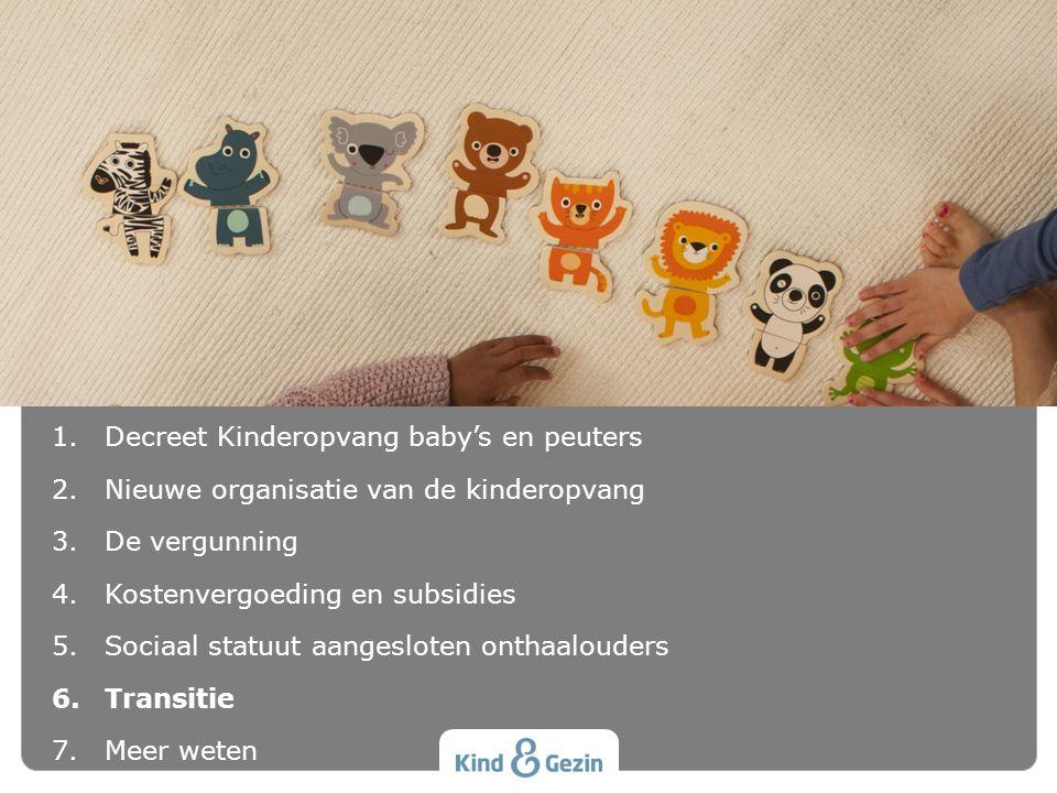 INHOUD 1.Decreet Kinderopvang baby's en peuters 2.Nieuwe organisatie van de kinderopvang 3.De vergunning 4.Kostenvergoeding en subsidies 5.Sociaal sta
