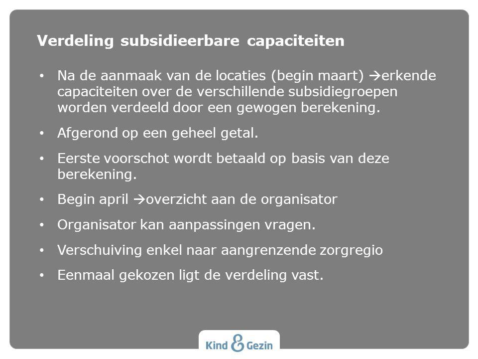 • Na de aanmaak van de locaties (begin maart)  erkende capaciteiten over de verschillende subsidiegroepen worden verdeeld door een gewogen berekening