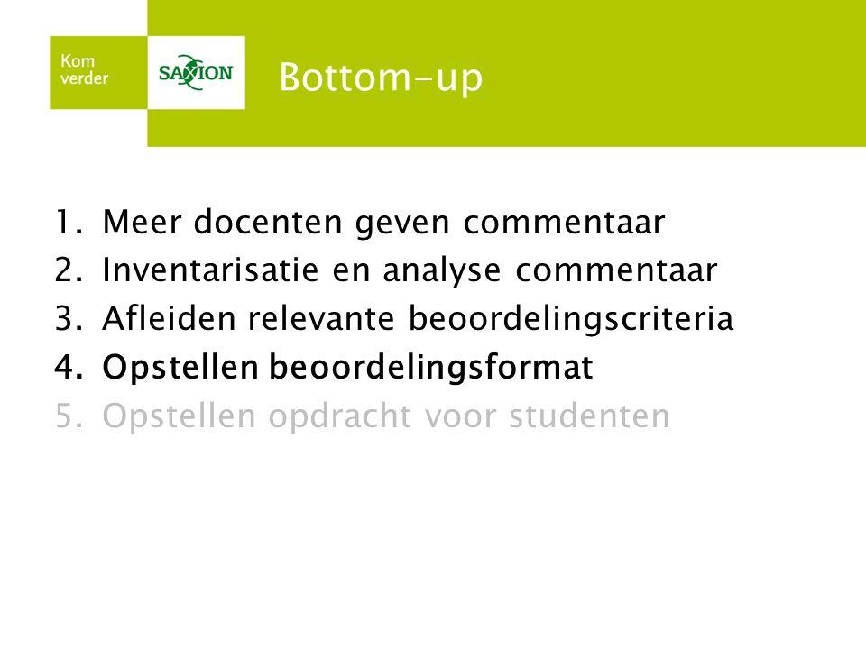 Bottom-up 1.Meer docenten geven commentaar 2.Inventarisatie en analyse commentaar 3.Afleiden relevante beoordelingscriteria 4.Opstellen beoordelingsfo