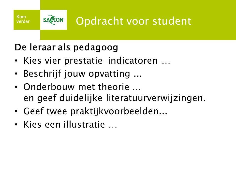 Opdracht voor student De leraar als pedagoog • Kies vier prestatie-indicatoren … • Beschrijf jouw opvatting... • Onderbouw met theorie … en geef duide