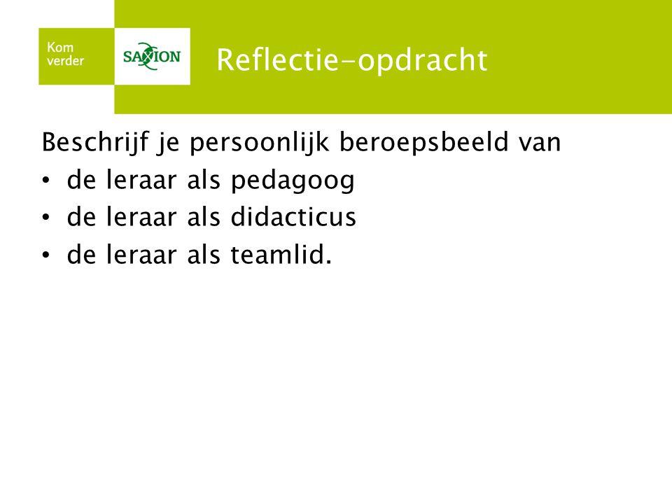 Reflectie-opdracht Beschrijf je persoonlijk beroepsbeeld van • de leraar als pedagoog • de leraar als didacticus • de leraar als teamlid.