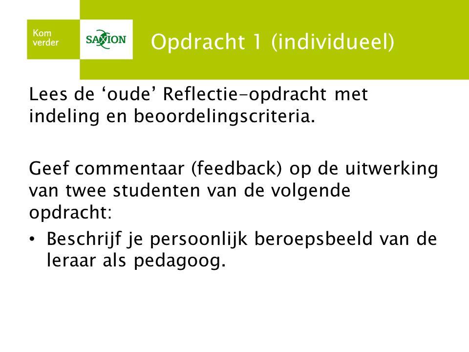 Opdracht 1 (individueel) Lees de 'oude' Reflectie-opdracht met indeling en beoordelingscriteria. Geef commentaar (feedback) op de uitwerking van twee