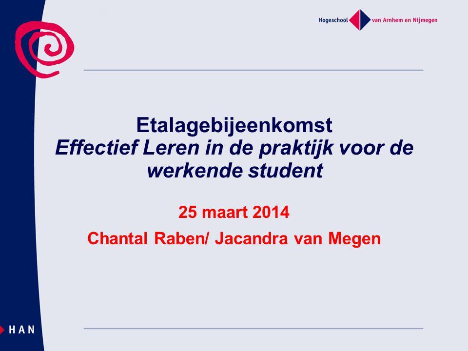 Etalagebijeenkomst Effectief Leren in de praktijk voor de werkende student 25 maart 2014 Chantal Raben/ Jacandra van Megen