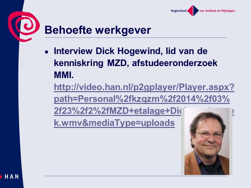 Behoefte werkgever  Interview Dick Hogewind, lid van de kenniskring MZD, afstudeeronderzoek MMI. http://video.han.nl/p2gplayer/Player.aspx? path=Pers