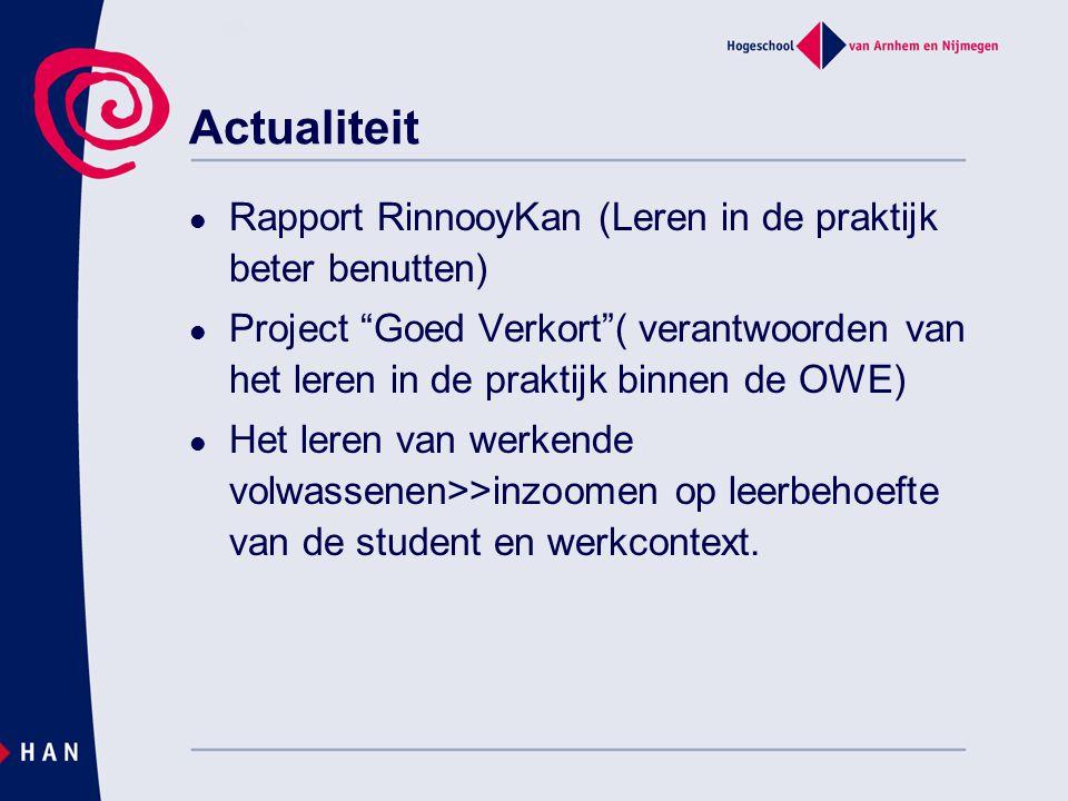 """Actualiteit  Rapport RinnooyKan (Leren in de praktijk beter benutten)  Project """"Goed Verkort""""( verantwoorden van het leren in de praktijk binnen de"""