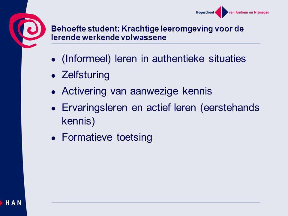 Behoefte student: Krachtige leeromgeving voor de lerende werkende volwassene  (Informeel) leren in authentieke situaties  Zelfsturing  Activering v
