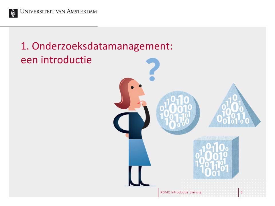 1.Onderzoeksdatamanagement: een introductie RDMO Introductie training7  Wat zijn onderzoeksdata.