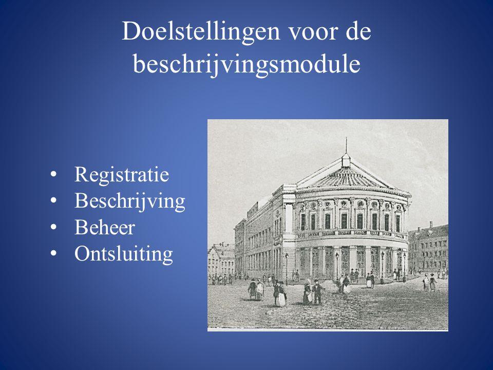 Doelstellingen voor de beschrijvingsmodule • Registratie • Beschrijving • Beheer • Ontsluiting