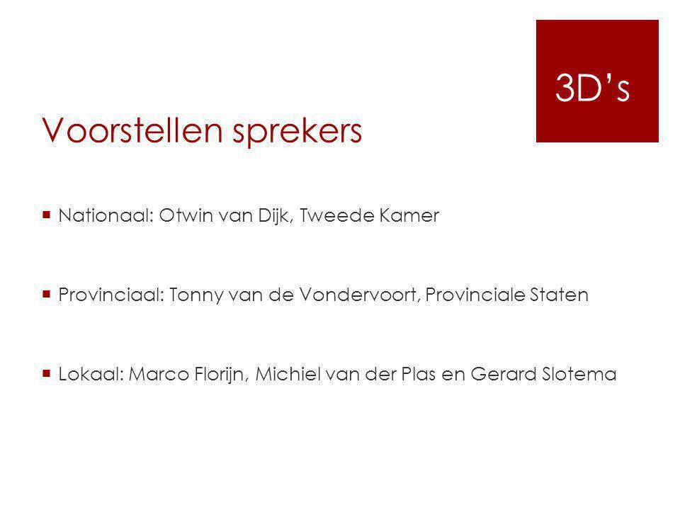 Voorstellen sprekers  Nationaal: Otwin van Dijk, Tweede Kamer  Provinciaal: Tonny van de Vondervoort, Provinciale Staten  Lokaal: Marco Florijn, Mi