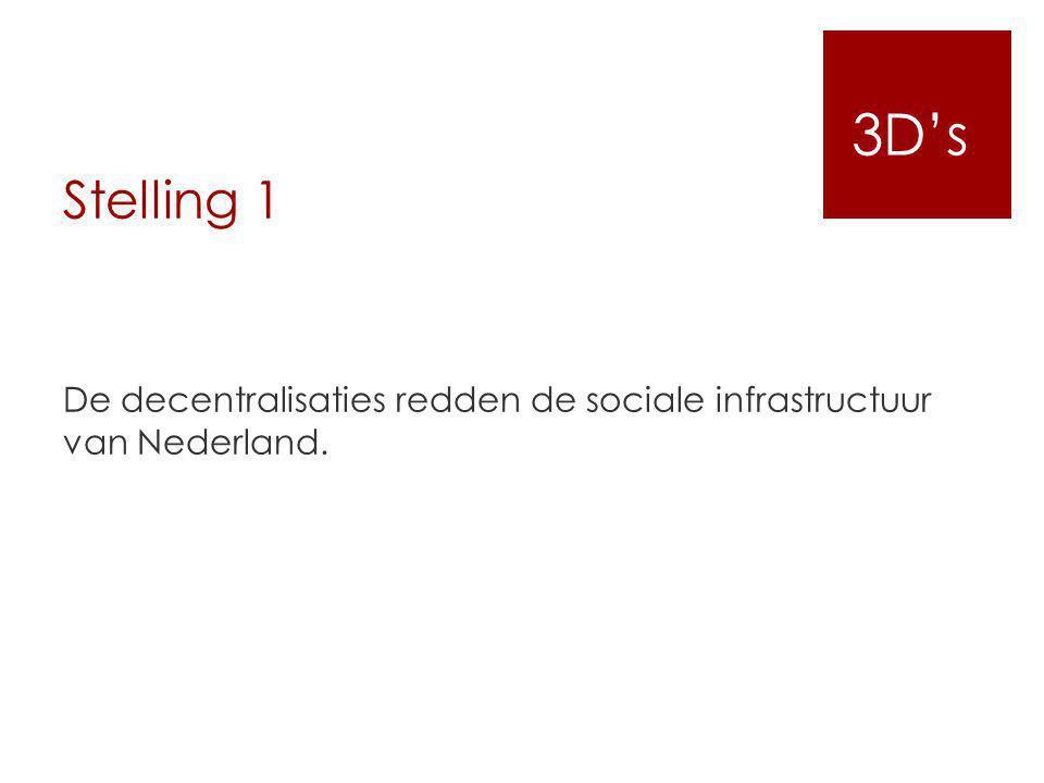 Stelling 1 De decentralisaties redden de sociale infrastructuur van Nederland. 3D's