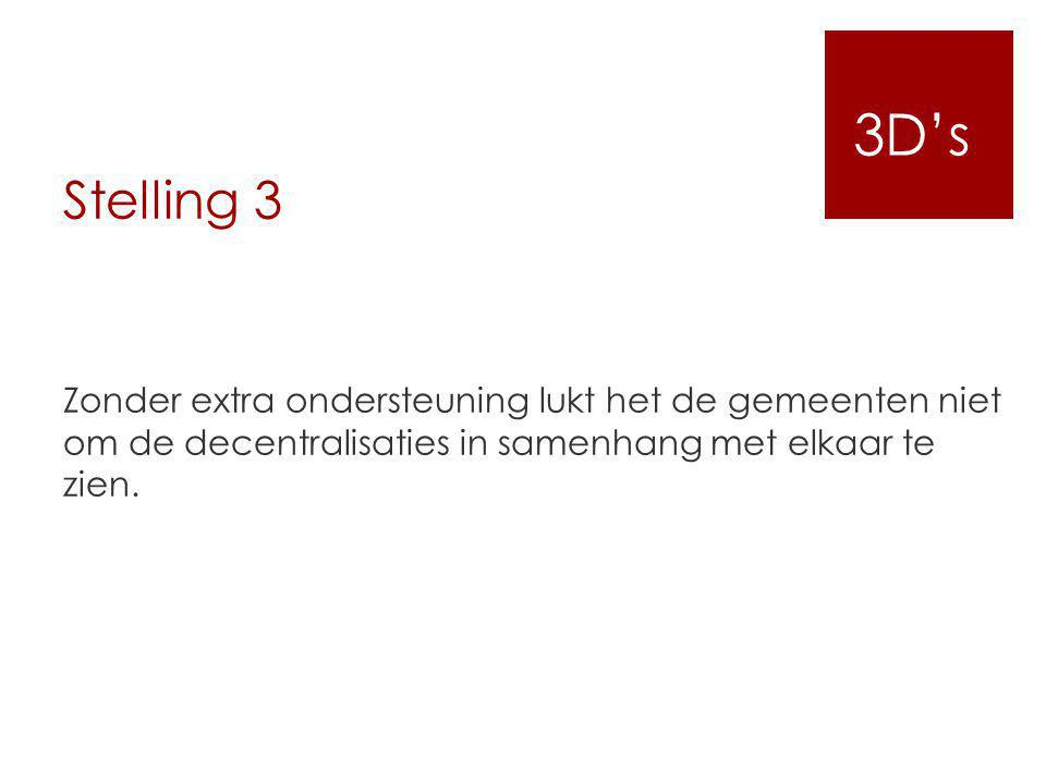 Stelling 3 Zonder extra ondersteuning lukt het de gemeenten niet om de decentralisaties in samenhang met elkaar te zien. 3D's