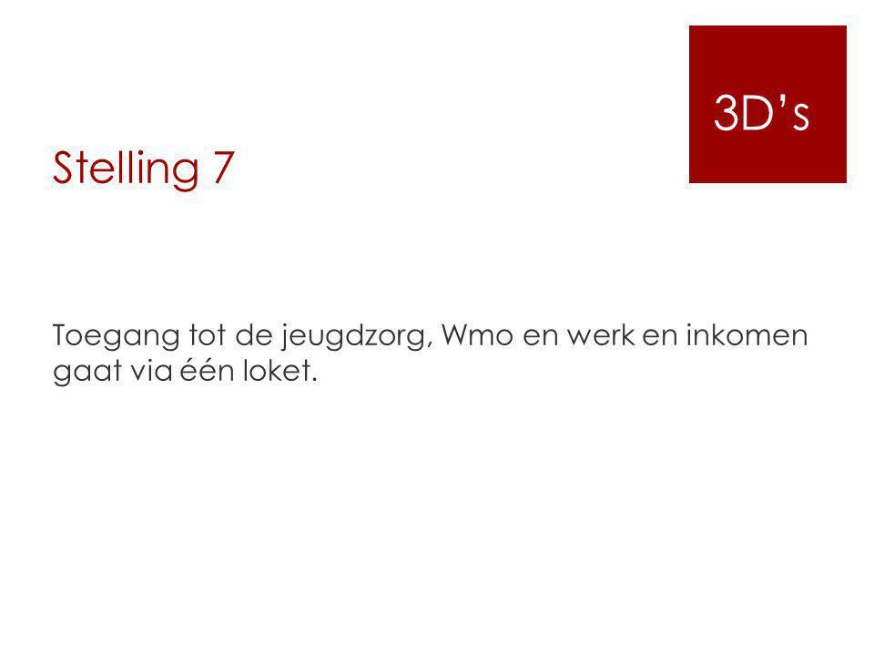 Stelling 7 Toegang tot de jeugdzorg, Wmo en werk en inkomen gaat via één loket. 3D's