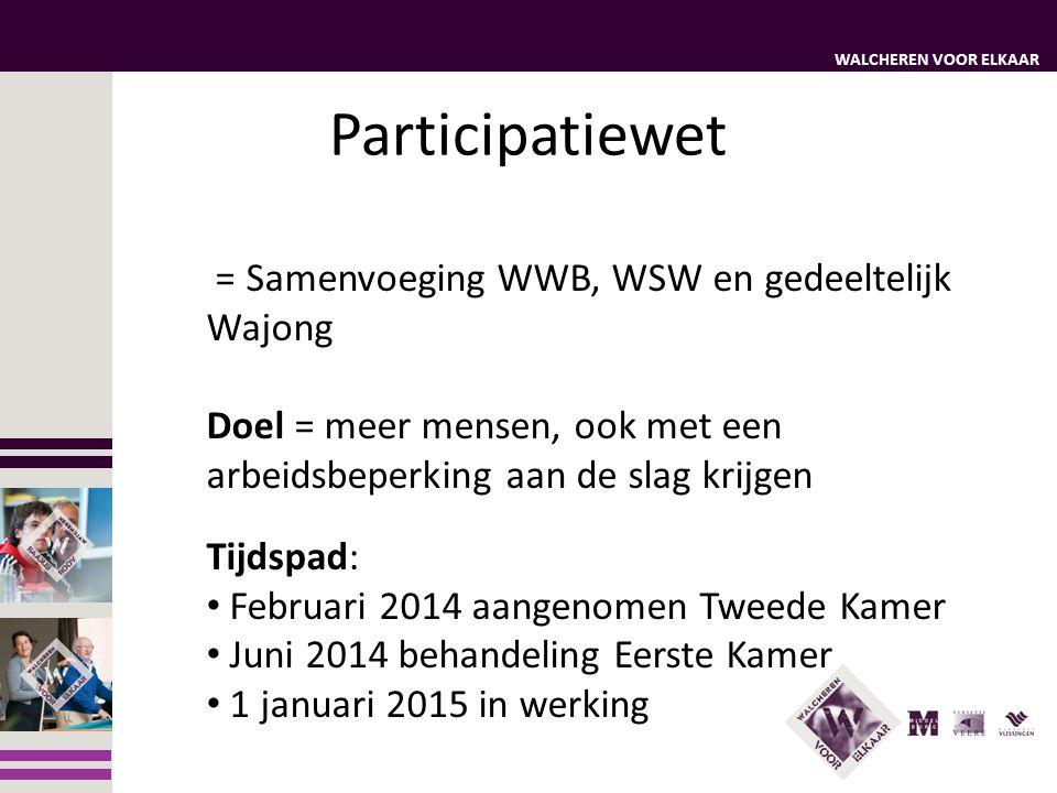 WALCHEREN VOOR ELKAAR Participatiewet = Samenvoeging WWB, WSW en gedeeltelijk Wajong Doel = meer mensen, ook met een arbeidsbeperking aan de slag krij