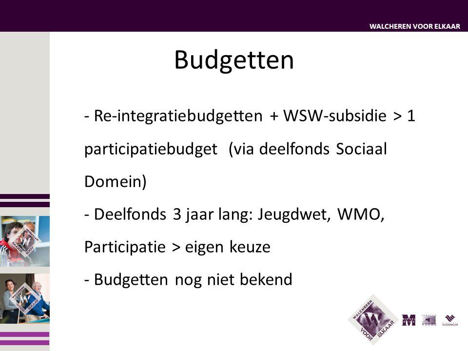 WALCHEREN VOOR ELKAAR Budgetten - Re-integratiebudgetten + WSW-subsidie > 1 participatiebudget (via deelfonds Sociaal Domein) - Deelfonds 3 jaar lang: