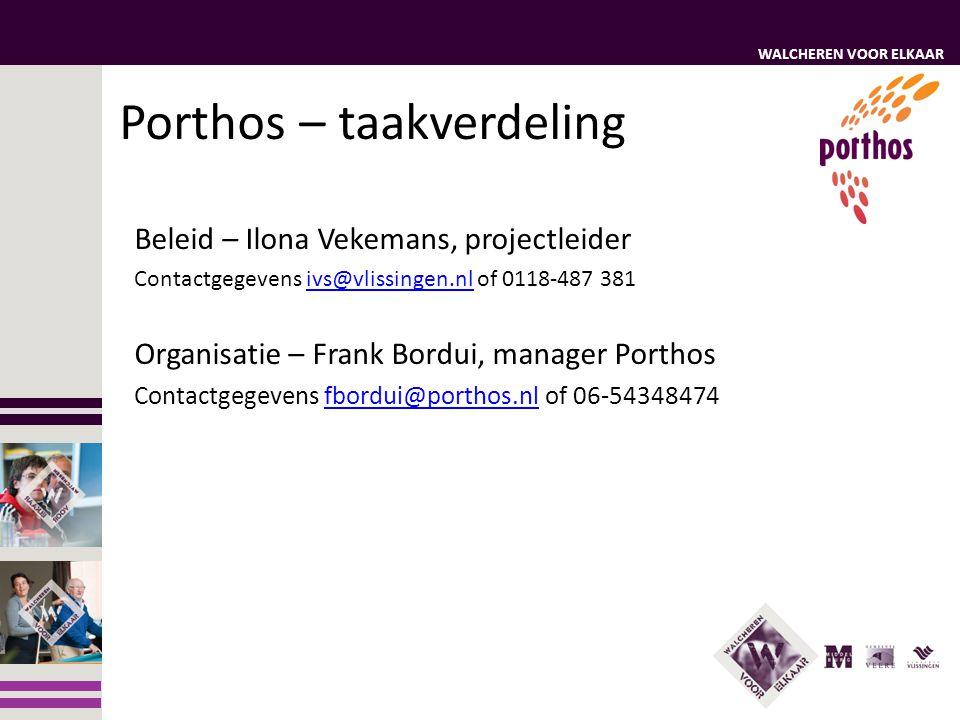 WALCHEREN VOOR ELKAAR Porthos – taakverdeling Beleid – Ilona Vekemans, projectleider Contactgegevens ivs@vlissingen.nl of 0118-487 381ivs@vlissingen.n