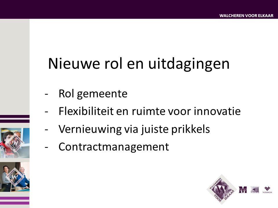 WALCHEREN VOOR ELKAAR Nieuwe rol en uitdagingen -Rol gemeente -Flexibiliteit en ruimte voor innovatie -Vernieuwing via juiste prikkels -Contractmanage