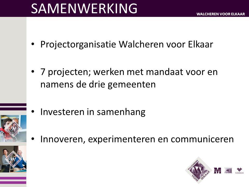 WALCHEREN VOOR ELKAAR SAMENWERKING • Projectorganisatie Walcheren voor Elkaar • 7 projecten; werken met mandaat voor en namens de drie gemeenten • Inv
