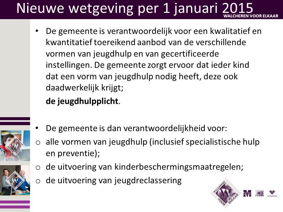 WALCHEREN VOOR ELKAAR Nieuwe wetgeving per 1 januari 2015 • De gemeente is verantwoordelijk voor een kwalitatief en kwantitatief toereikend aanbod van