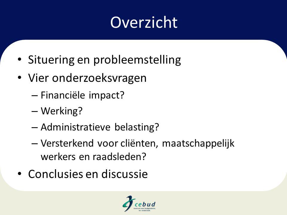 Overzicht • Situering en probleemstelling • Vier onderzoeksvragen – Financiële impact? – Werking? – Administratieve belasting? – Versterkend voor clië