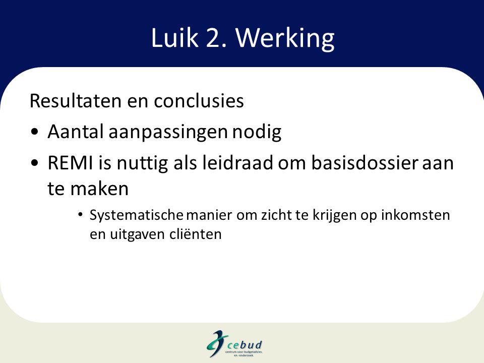 Luik 2. Werking Resultaten en conclusies •Aantal aanpassingen nodig •REMI is nuttig als leidraad om basisdossier aan te maken • Systematische manier o