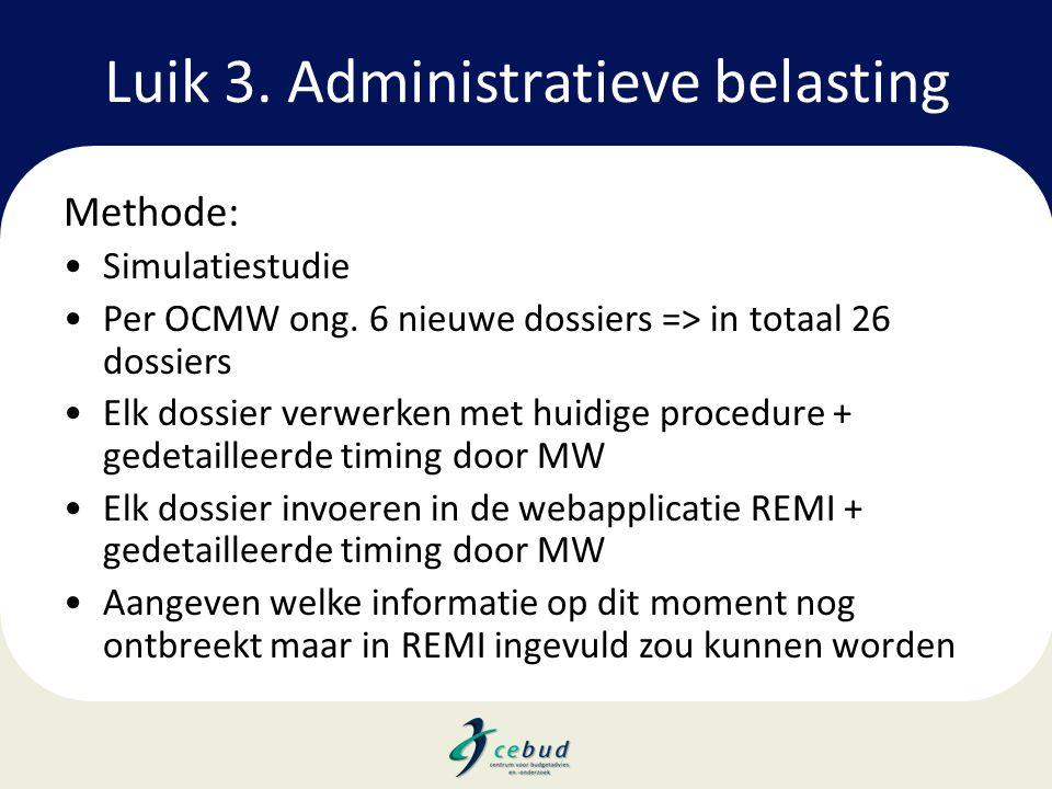 Luik 3. Administratieve belasting Methode: •Simulatiestudie •Per OCMW ong. 6 nieuwe dossiers => in totaal 26 dossiers •Elk dossier verwerken met huidi