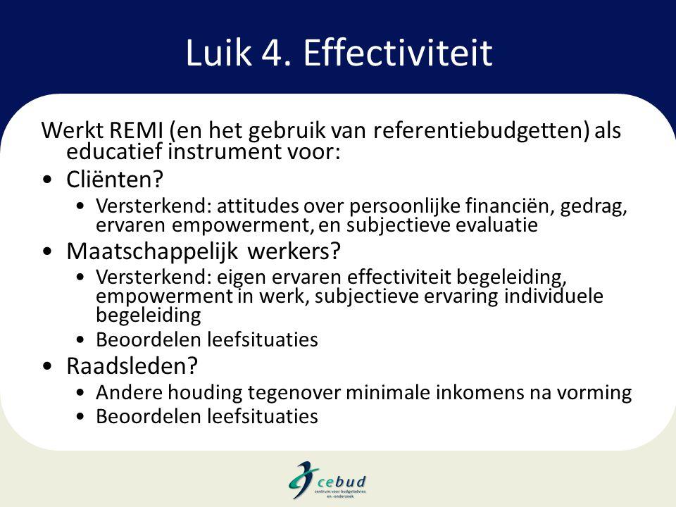 Luik 4. Effectiviteit Werkt REMI (en het gebruik van referentiebudgetten) als educatief instrument voor: •Cliënten? •Versterkend: attitudes over perso