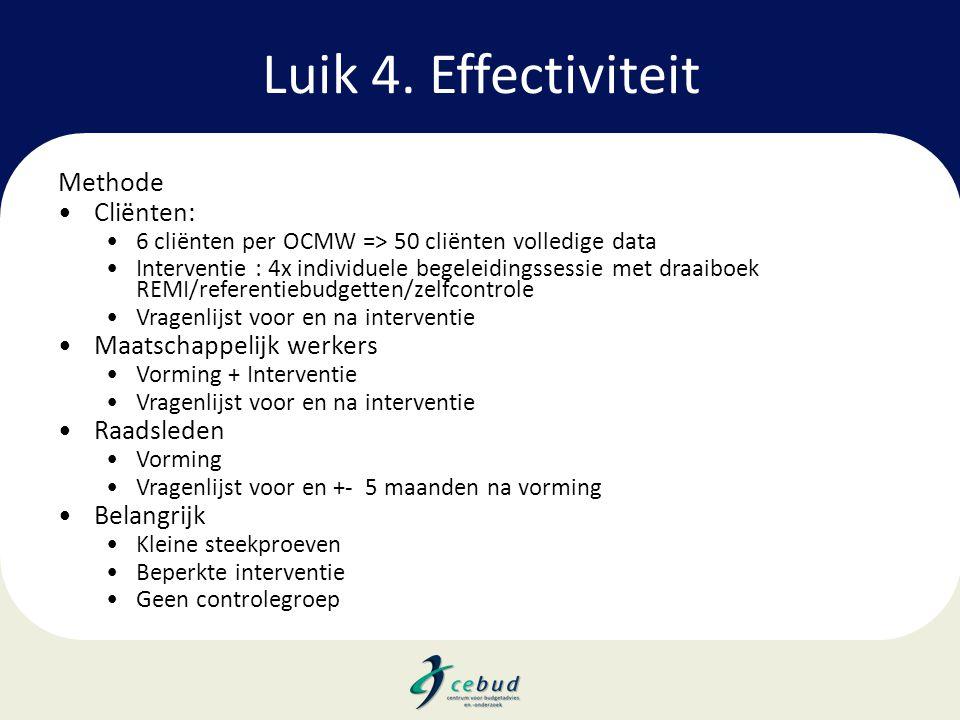 Luik 4. Effectiviteit Methode •Cliënten: •6 cliënten per OCMW => 50 cliënten volledige data •Interventie : 4x individuele begeleidingssessie met draai