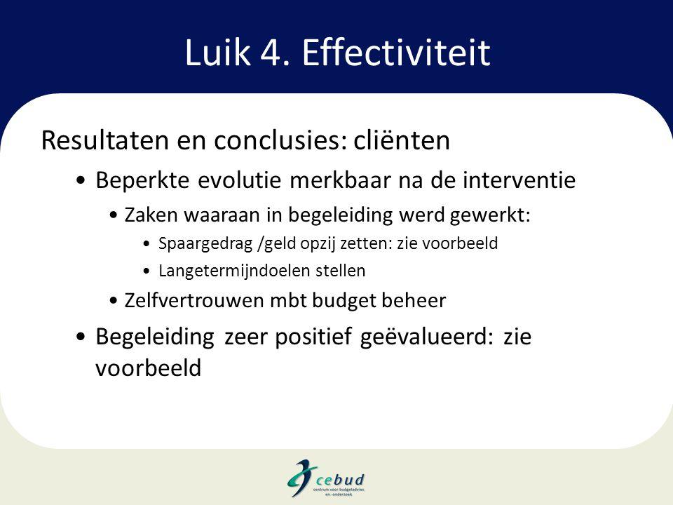 Luik 4. Effectiviteit Resultaten en conclusies: cliënten •Beperkte evolutie merkbaar na de interventie •Zaken waaraan in begeleiding werd gewerkt: •Sp