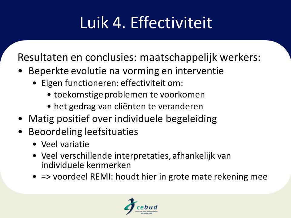 Luik 4. Effectiviteit Resultaten en conclusies: maatschappelijk werkers: •Beperkte evolutie na vorming en interventie •Eigen functioneren: effectivite
